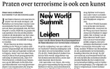 New World Summit in de NRC van 2 januari jl.