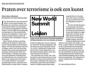 New World Summit in de NRC van 2 januari jl.